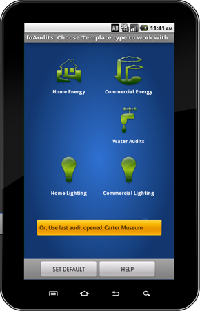 Example Handheld WX PDA Android Energy Audit